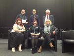 DBA committee: Phil, Paul, Lynne, Lyn and Lesley with Talegate Theatre's James as compere