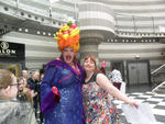 Host Carmen Miranda, aka James of Talegate Theatre, and Schools & Home Ed Coordinator Lynne