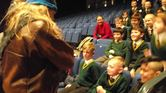 Jorfors Hall Viking re-enactment group in action - Edmund the Skald chatting to Our Lady of Mount Carmel students