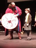 Shield Design winner Ada being presented with her prize by Jarl Jorfor 2